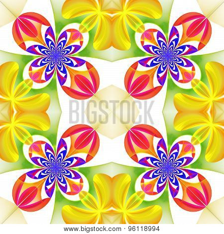Beautiful Symmetrical Pattern Of The Flower Petals In Fractal Design. Blue, Yellow And Pink Palette