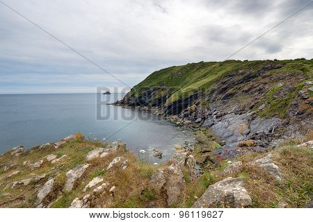Cliffs Above Portloe In Cornwall