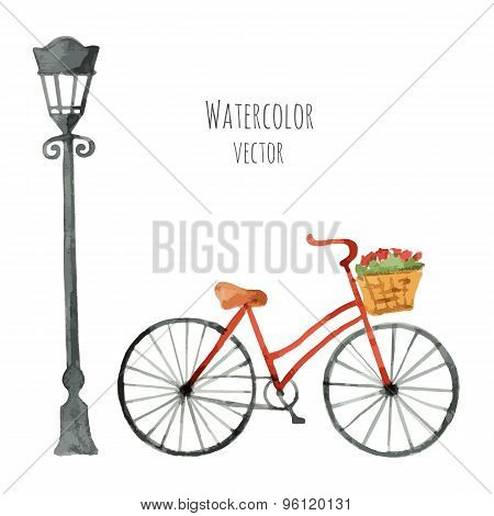 Watercolor Bicycle With Basket And Lantern.