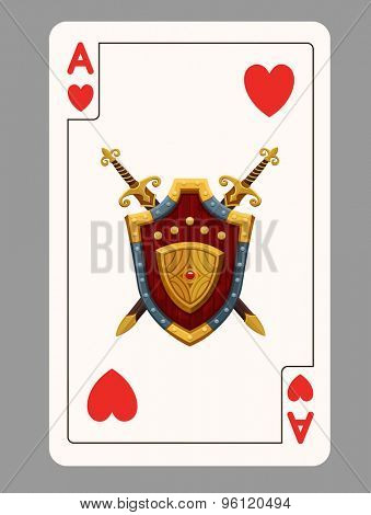 Ace of hearts playing card. Vector illustration