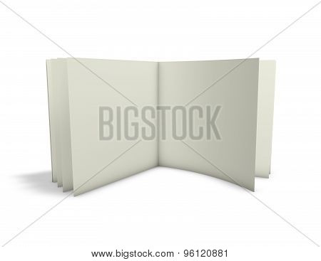 Open Empty Publication, Book, Leaflet Standing Isolated