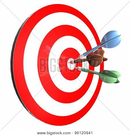 Achieving Goals Abstract Concept With Darts Isolated Illustration And Arrows In Center Achieving Goa