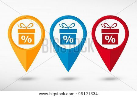 Gift discount box map pointer. Flat design style