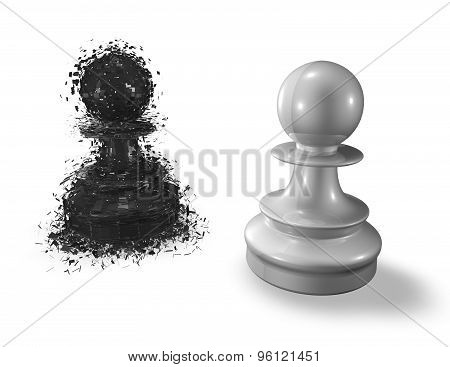 Fear And Challenge Metaphor With Two Chess Pawns