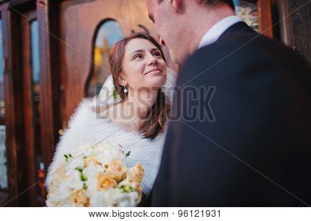Happy Wedding Couple In Evening Krakow