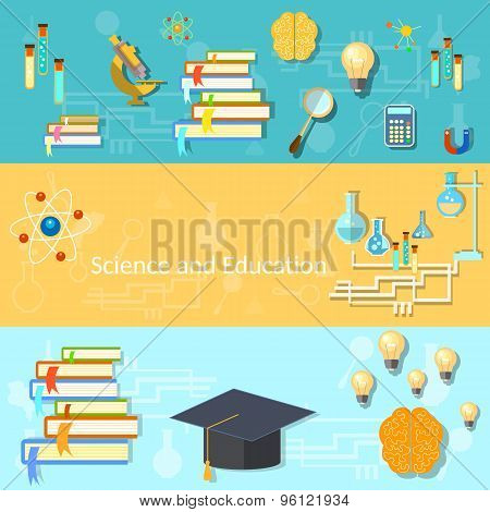 Science And Education, Training, Brain, Manuals, Chemistry, College, vector banners