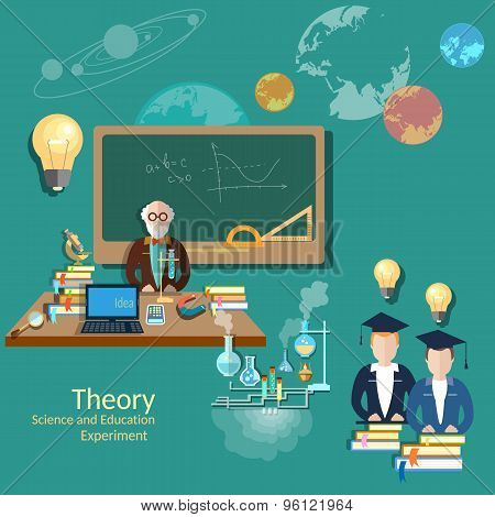 Education Concept: Students And Teachers, Science And Education, vector illustration