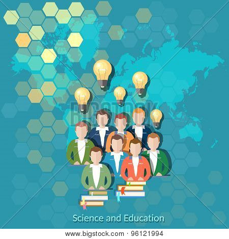 Science And Education, Online Education, International Education, vector illustration