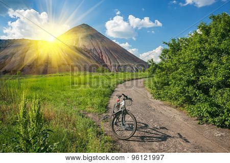 Slagheap and bike of ukrainian steppe