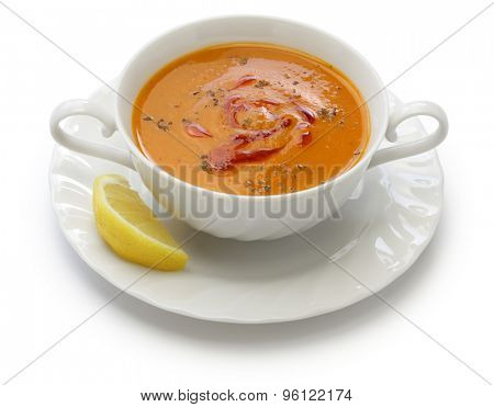 mercimek corbasi, red lentil soup, turkish cuisine isolated on white background