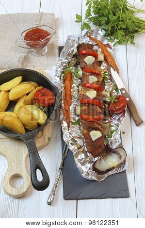 Country Dinner - Roasted Veal Chops With Vegetables And Potatoes