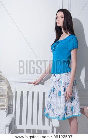 beautiful stylish girl posing in studio