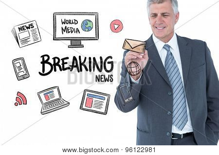 Businessman writing with black marker against breaking news doodle