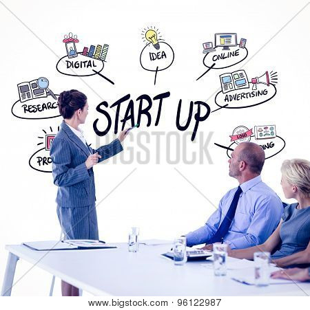Business people looking at meeting board during conference against start up doodle