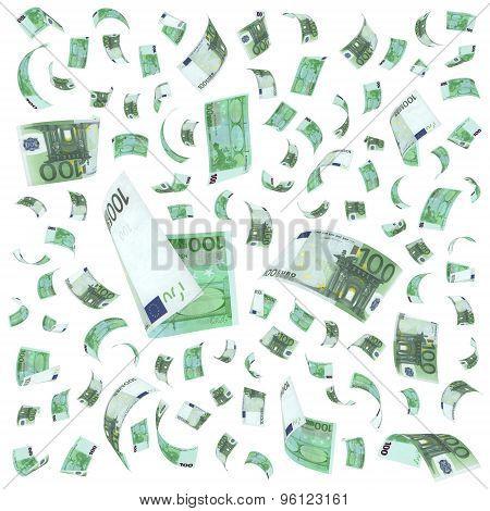 Flying 100 euro bills
