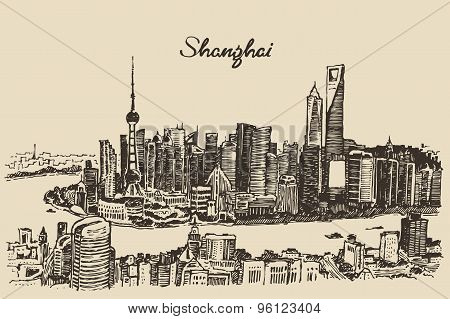 Shanghai City architecture China vintage sketch