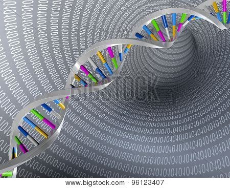 Dna Test And Research Abstract Illustration With Numbers.