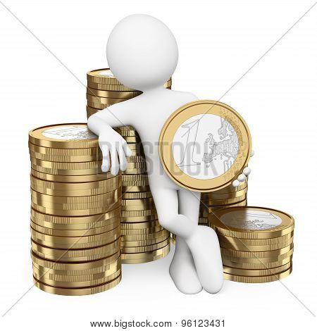 3D White People. Man With Piles Of Euro Coins