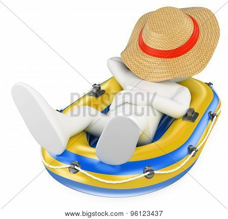 3D White People. Man Napping In An Inflatable Boat