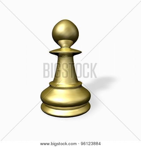 Gold Chess Piece Render.