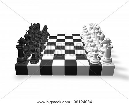 Chess Set Black And White.