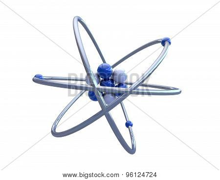 Atom 3D Model Render, Isolated On White.