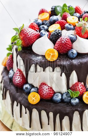Cake With Icing, Decorated With Fresh Fruit