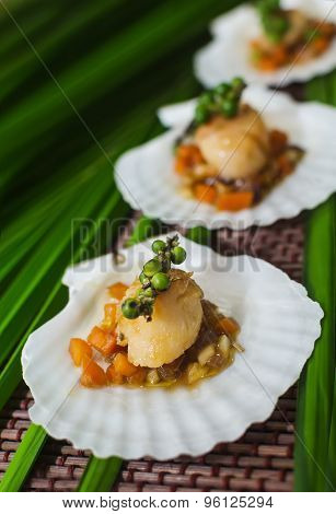 Seared scallops  served on a bed of vegetables on shell.