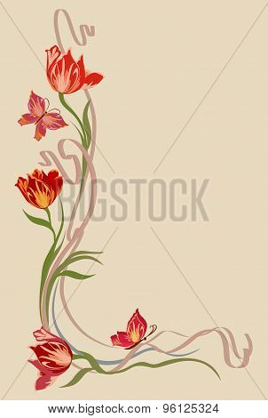 Background for text with tulips and butterflies in art Nouveau style.