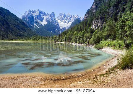 Lake, Mountain And Forrest In Italian Dolomiti