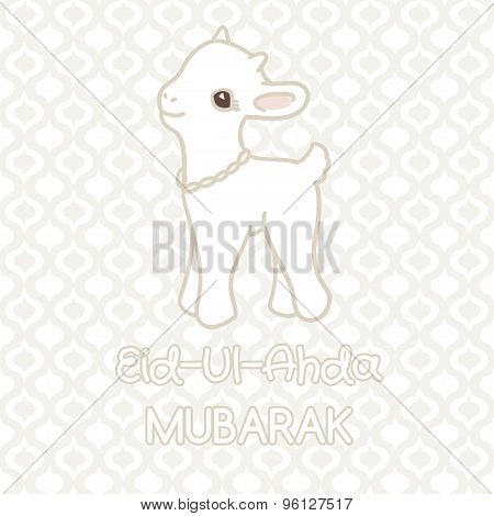 Muslim community festival of sacrifice Eid-Ul-Adha greeting card with lamb.