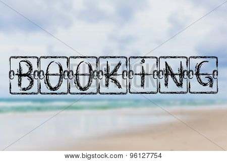 Schedule Board With The Word Booking On Beach Background