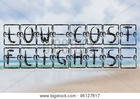 Schedule Board With Words Low Cost Flights On Beach Background