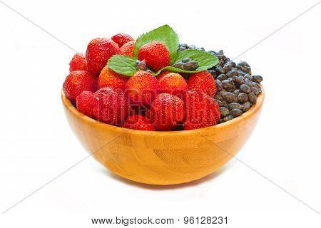 Strawberries And Honeysuckle On White
