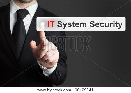 Businessman Pushing Button It System Security