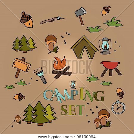 Camping - Doodles Collection. Hand Drawn Campingpattern