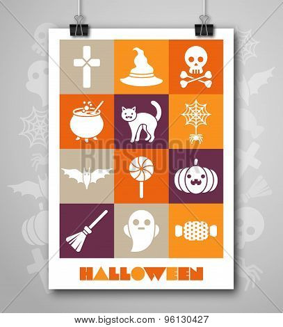 Halloween Poster or Flyer with Flat Icons Set.