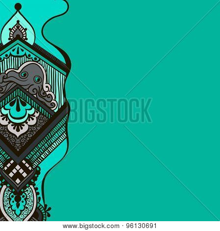 pattern with an octopus on a turquoise background