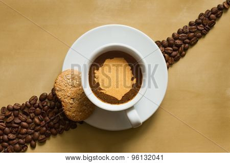 Still Life - Coffee With Map Of Sierra Leone