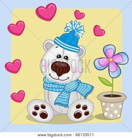 Polar Bear With Heart And Flower