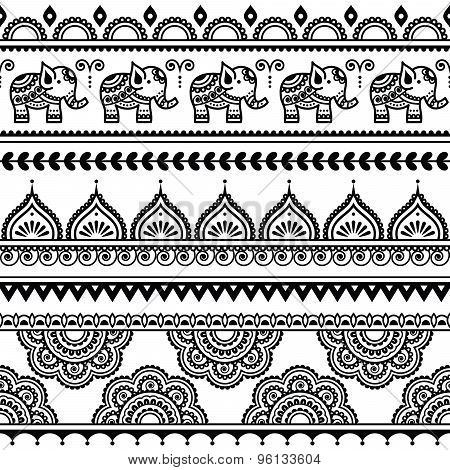 Mehndi, Indian Henna tattoo seamless pattern with elephants