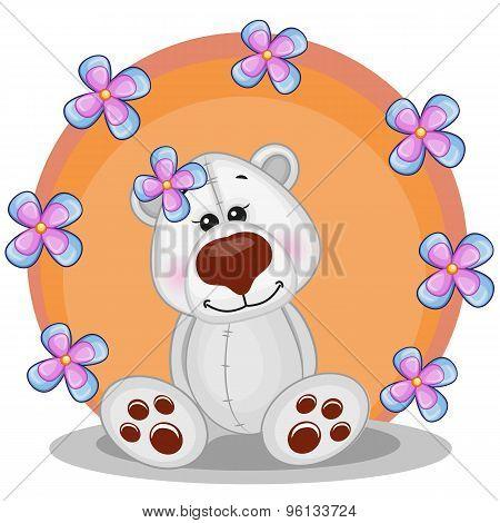 Polar Bear With Flowers