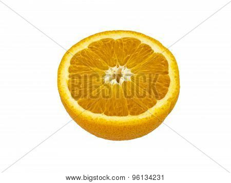 Valencia Orange Cut In Half Over White Background
