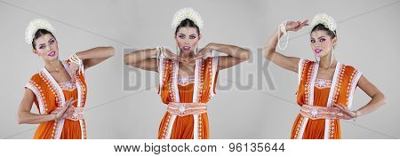 Collage, young traditional Asian Indian women in indian sari, isolated on gray background