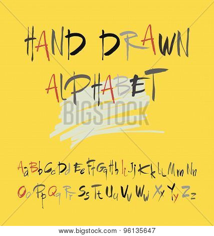 Hand drawn alphabet in retro style on a yellow background. ABC for your design. Letters of the alpha