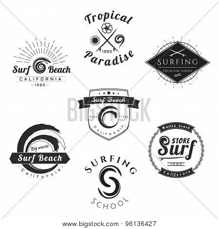 Collection of Vintage Surfing Graphics