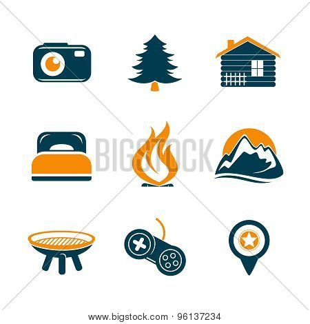 Travel And Outdor Icons Set