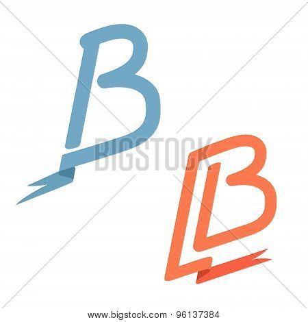 B Letter Ribbon And Flag Logo, Retro Icon