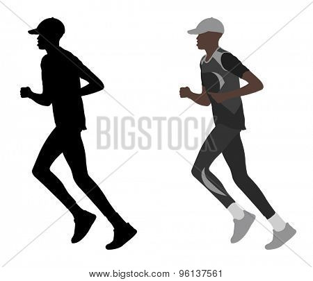 marathon runner silhouette and illustration
