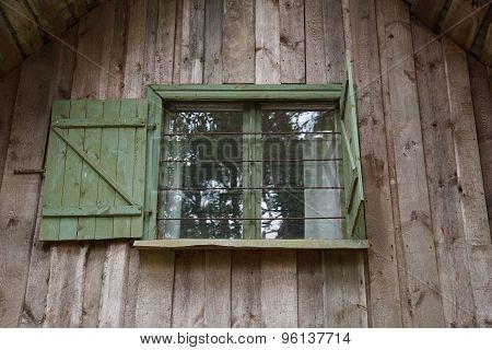 Wooden hut window
